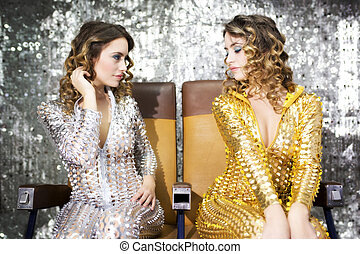 beautiful disco twins i golden and silver catsuit -...