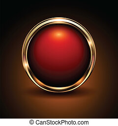 Shiny button red and gold glossy metallic, vector...