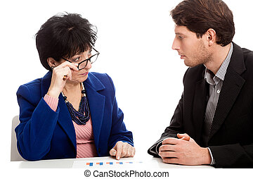 Business meeting in office - Woman and man during business...
