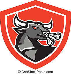 Angry Bull Head Shield Retro - Illustration of an angry...