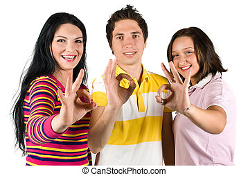 Happy friends showing ok sign - Group of three friends...