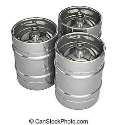 Metal beer kegs - isolated on white background