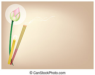Lotus with Joss Sticks and Candle on Brown Background - An...