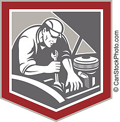 Car Mechanic Repair Automobile Shield Retro - Illustration...