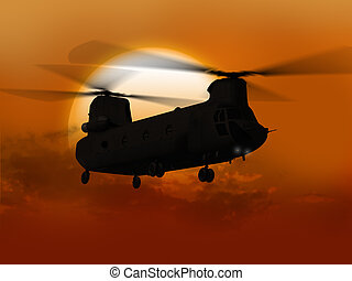 Chinook flying from sun
