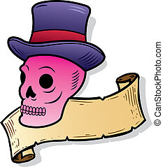 Skull wearing a top hat tattoo style illustration.
