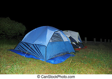 Two Tents at Night - Two blue tents on green grass at night.