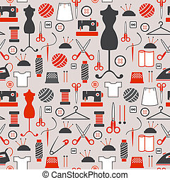 seamless pattern - Sewing and needlework icons