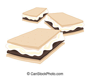 smores - an illustration of delicious american smores...