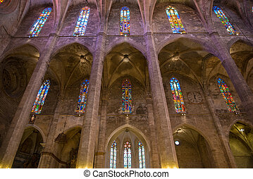 Interior of Cathedral of Santa Maria of Palma (La Seu) in...