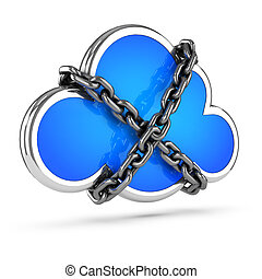 3d Chained cloud - 3d render of a cloud wrapped in chains