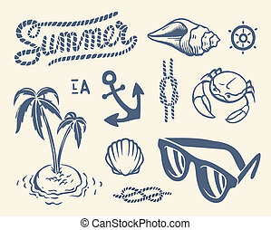 Vintage summer collection of nautical icons, symbols and...