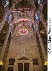 Interior of Cathedral of Santa Maria of Palma (La Seu) in...