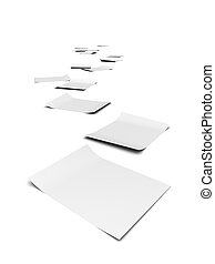 3d Paper trail - 3d render of documents forming a trail to...