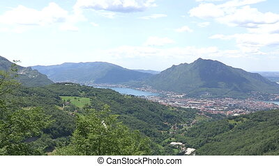 Panoramic view of Como lake - Panoramic view of small cities...