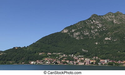 Small town on Como lake - View of small town on Como lake,...