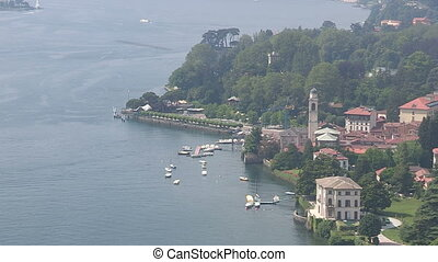 Panoramic view of Como lake - Panoramic view of small city...