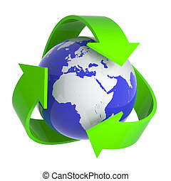 3d Recycle earth symbol - 3d render of a globe surrounded by...