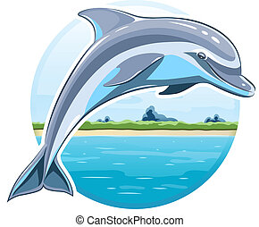 Dolphin on sea background Eps8 vector illustration Isolated...