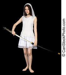 Girl with the big Japanese sword