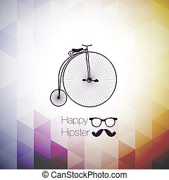 hipster mustag retro bicycle triangle background. - hipster...