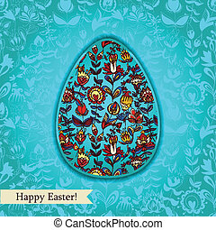 Easter egg turquoise greeting card with flowers