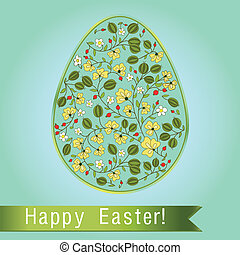 Easter egg  with gooseberry, blue turquoise greeting card
