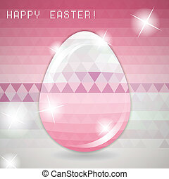 Easter egg pink crystall triangle greeting card