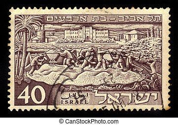 founding of Tel Aviv - ISRAEL - CIRCA 1951: a stamp printed...