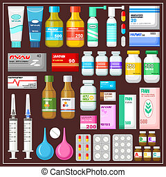 Seth medicines. Vector illustration