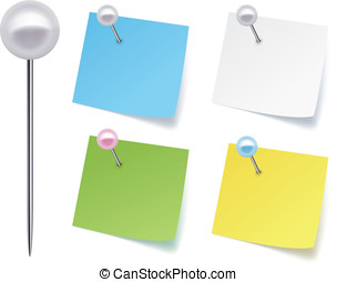 Pushpins with paper. Vector