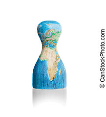 Wooden pawn with a painting of a map