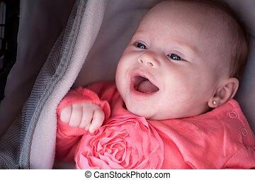 mosolygós, csecsemő, babakocsi