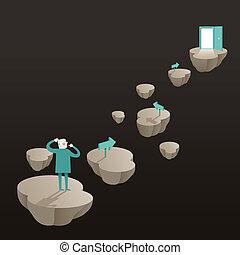 flat design illustration concept of challenge - flat design...