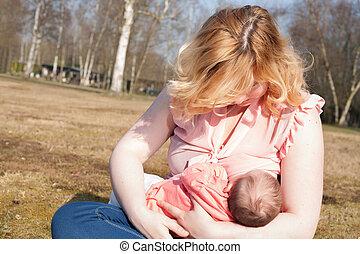 madre, alimentación, ella, bebé, campo