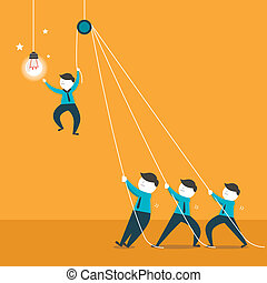 flat design illustration concept of team work - flat design...