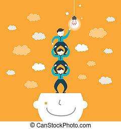 flat design illustration concept of team work - flat design...