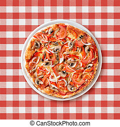 pizza with paprika and mushrooms top view on picnic...