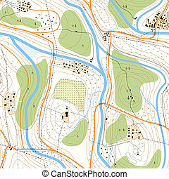 Seamless topographic map - Seamless background detailed...