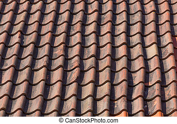 roof tile pattern - Red roof tile pattern on the house or...