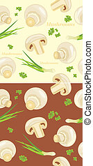 Mushrooms. Seamless background - Mushrooms with parsley and...