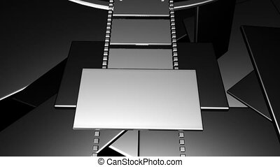 3D filmstrip motion in virtual space with light and streaks...
