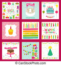 Set of Happy Birthday and Party Invitation Card - with place...
