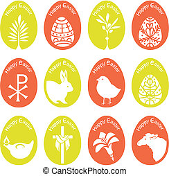 Eggs set with Easter symbols