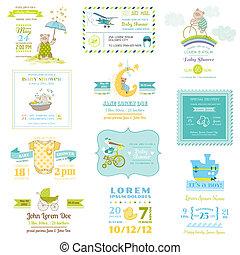 llegada, Conjunto, -, ducha, bebé, vector, diseño, tarjetas,...