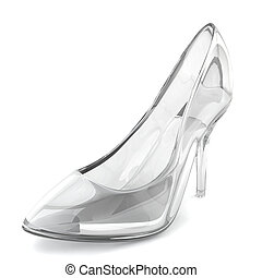 Crystal shoe. 3d illustration on white background
