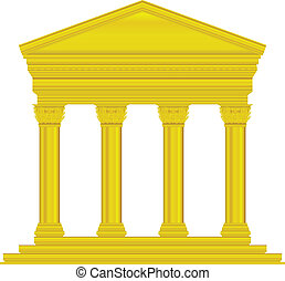 Gold corinthian temple isolated on white background.