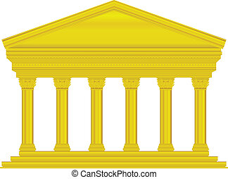 Gold corinthian temple isolated on white background