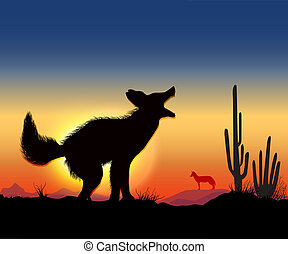dance jackal - jackals howling in the desert in front worth...
