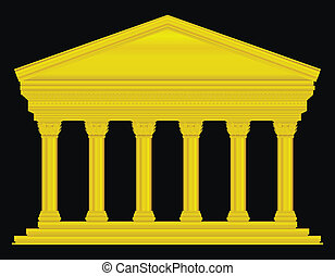Gold corinthian temple isolated on black background.